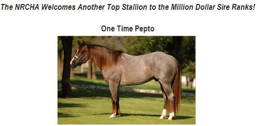 One Time Pepto NRCHA Millon Dollar Sire!